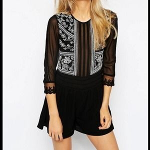 Asos Woven Playsuit Romper Embroidery Sheer Pannel Size 6